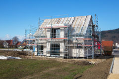Construction of a new prefabricated house. Royalty Free Stock Images