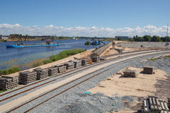 The construction of new railroads Stock Photo