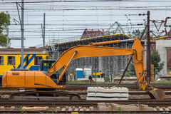 Construction of a new railway line and the viaduct over Stock Photography