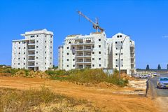 Construction of a residential area. Construction of a new residential area in Israel royalty free stock images