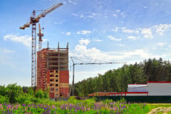 Construction of a new residential house. Moscow region, Russia Stock Photos