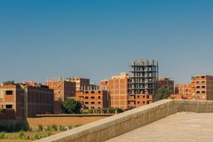 Construction of new residential quarter in Egypt Royalty Free Stock Photography