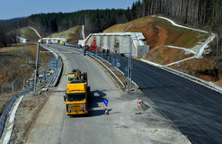 Construction of new road Stock Photo