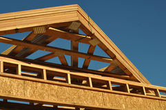 Construction of New Roof on Home Stock Images