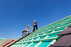 Construction of a new roof Royalty Free Stock Photos
