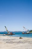 Construction of new seaport Stock Photo