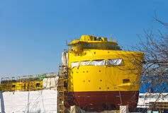 The construction of a new ship in dry dock Royalty Free Stock Photography