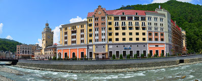The construction of a new ski resort Rosa Khutor Royalty Free Stock Images