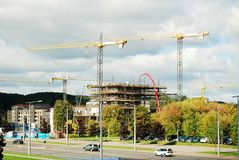 Construction of new skyscraper in Vilnius city on September 24, 2014 Stock Images