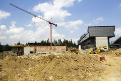 Construction of a new Sports Hall in Zakopane Royalty Free Stock Photos