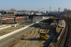 Construction of a new station Warschauer Strasse Stock Images
