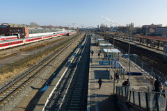 Construction of a new station Warschauer Strasse Stock Photo
