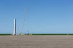 Construction new wind turbine in The Netherlands Stock Photo