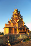 Construction of a new wooden church Royalty Free Stock Images