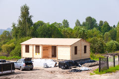 Construction of a new wooden house Royalty Free Stock Photo