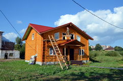 Construction of new wooden house Royalty Free Stock Image