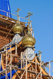 Construction of new wooden orthodox church Royalty Free Stock Photos