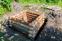 Construction new wooden water well in village Royalty Free Stock Photos