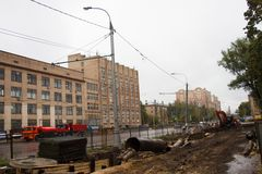 Construction North-West of chord in Moscow. Moscow, Russia - September 14, 2014. The construction of the North-West of chord in Moscow Stock Photo