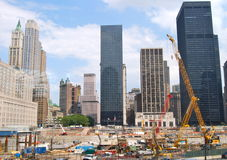 The construction of NYC's World Trade Center towers Stock Photo