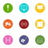 Construction object icons set, flat style. Construction object icons set. Flat set of 9 construction object vector icons for web isolated on white background royalty free illustration