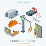 Construction objects set flat 3d web isometric concept Royalty Free Stock Images