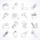 Construction objects and tools icons Royalty Free Stock Photo