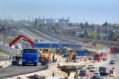 Construction Of A Two-tier Road Interchange Royalty Free Stock Image