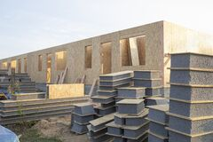 Free Construction Of A Wooden House From SIP Panels. Stock Images - 202391814