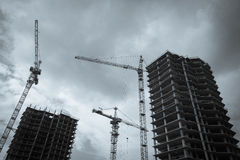 Construction Of Apartment Buildings Royalty Free Stock Image