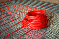 Construction Of Radiant Floor Heating System Royalty Free Stock Photos