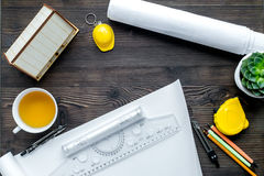 Construction office with architect tools on wooden background top view Stock Photo