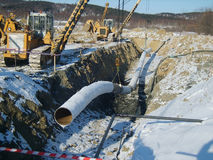 Construction of an oil and gas pipeline. Royalty Free Stock Photo
