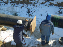 Construction of an oil and gas pipeline. RUSSIA, SURGUT, NOVEMBER 26, 2008: Construction of an oil and gas pipeline Industrial equipment stock image