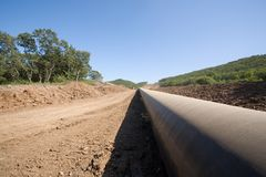 construction oil pipeline Royalty Free Stock Photos