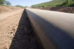 Construction oil pipeline Stock Photos