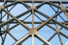 Construction of old railway bridge Stock Photography
