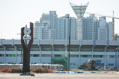 Construction of the Olympic Park in Gangneung. GANGNEUNG, SOUTH KOREA - JANUARY, 2017: Construction of the Olympic Park in Gangneung for the Olympic Games 2018 Stock Photo