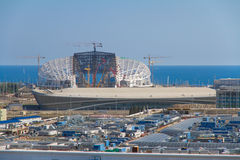 Construction of olympic stadium Fisht in Sochi. SOCHI, RUSSIA - JUNE 20: Construction of the olympic stadium Fisht Royalty Free Stock Photography