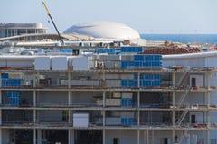 Construction of the olympic stadium Fisht. Stock Photo