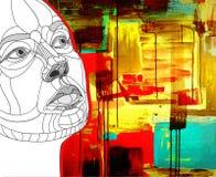 Construction originale de visage de femmes sur l'acrylique Photo libre de droits