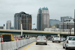 Construction in Orlando, Florida. Interstate 4 east and westbound are undergoing construction to meet the needs as there is a population explosion in Orlando Stock Photo
