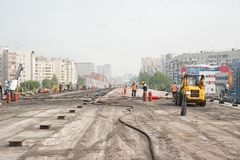 Construction of outcome between city roads Royalty Free Stock Photography