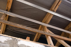 Construction of the outer surface of the attic Royalty Free Stock Photos