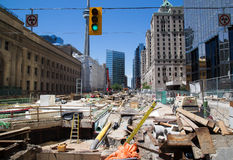Construction outside Union Station Toronto Royalty Free Stock Images