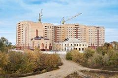 Construction on the outskirts of Orenburg. Autumn Stock Photos