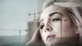 Construction overlay on thinking girl stock video