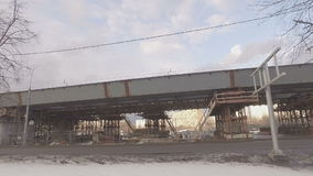 Construction of  overpass at  intersection of Volgograd prospectus. MOSCOW, RUSSIA -  FEBRUARY 26, 2016:  Construction of  overpass at  intersection of stock video