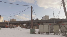 Construction of  overpass at  intersection of Volgograd prospectus. MOSCOW, RUSSIA -  FEBRUARY 26, 2016:  Construction of  overpass at  intersection of stock video footage