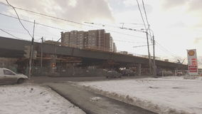 Construction of  overpass at  intersection of Volgograd prospectus. MOSCOW, RUSSIA -  FEBRUARY 26, 2016:  Construction of  overpass at  intersection of stock footage